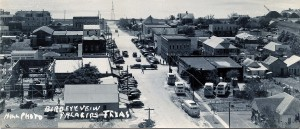 Palacios Birds Eye View, 1940s showing back of Williams Building (Cash Hardware)